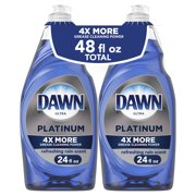 Dawn Platinum Dishwashing Dish Soap, Refreshing Rain, 2x24 fl oz