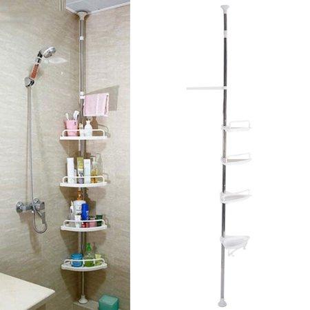 3 Tiers Over Toilet Storage Rack Shower Tension Pole Bathroom Adjustable Height