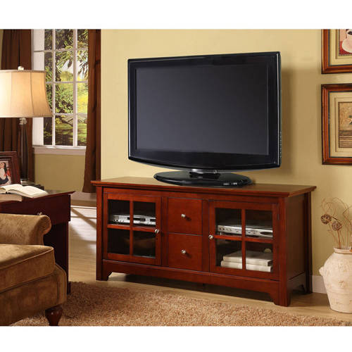 "Wood Matte Black TV Console with 2 Drawers for TVs up to 55"", Multiple Colors"