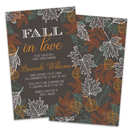 Personalized Fall in Love Bridal Shower Invitations