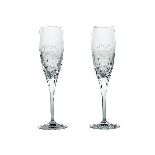 "Belleek Galway Crystal ""bride"" And ""groom"" Champagne Flutes (Set Of 2)"