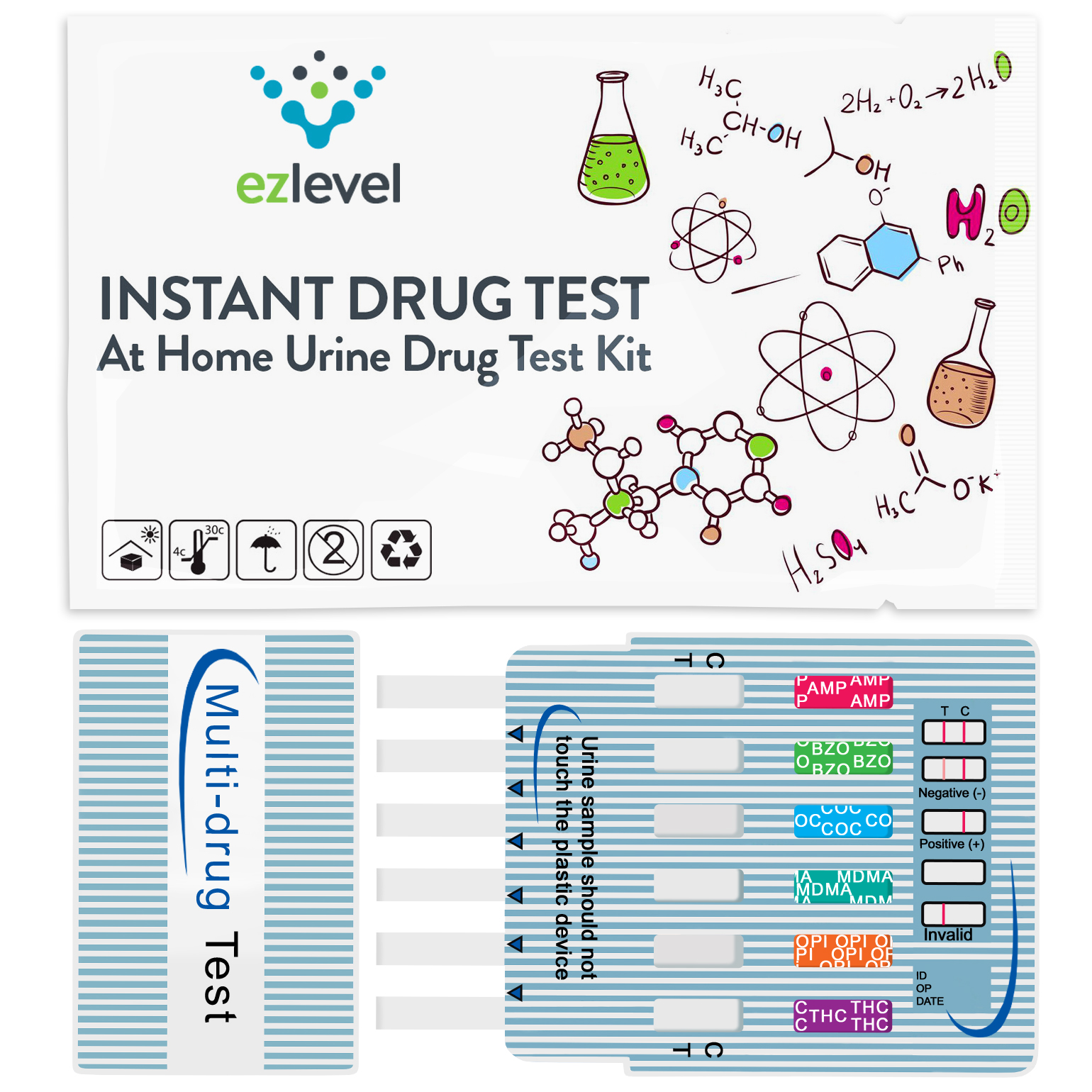 (3 Pack) EZ Level 5 Panel Urine Drug Dip Test Multi-Drug Testing Kit