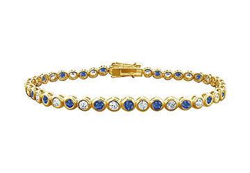 14K Yellow Gold Sapphire and Diamond Tennis Bracelet by Love Bright