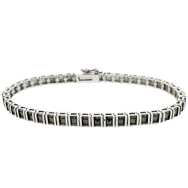 Gem Jolie Silver Overlay Marcasite Bar Link Bracelet