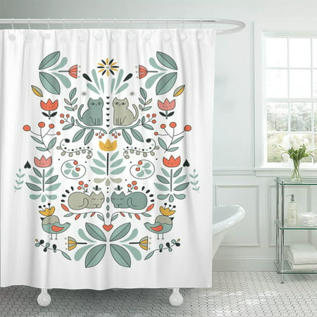 Pknmt Funny Swedish Folk Cartoon Cats Birds And Flowers Ethnic Polyester Shower Curtain 60x72 Inches by Pknmt