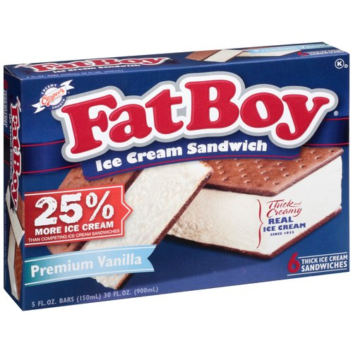 Fat Boy Vanilla Ice Cream Sandwiches, 6 ct