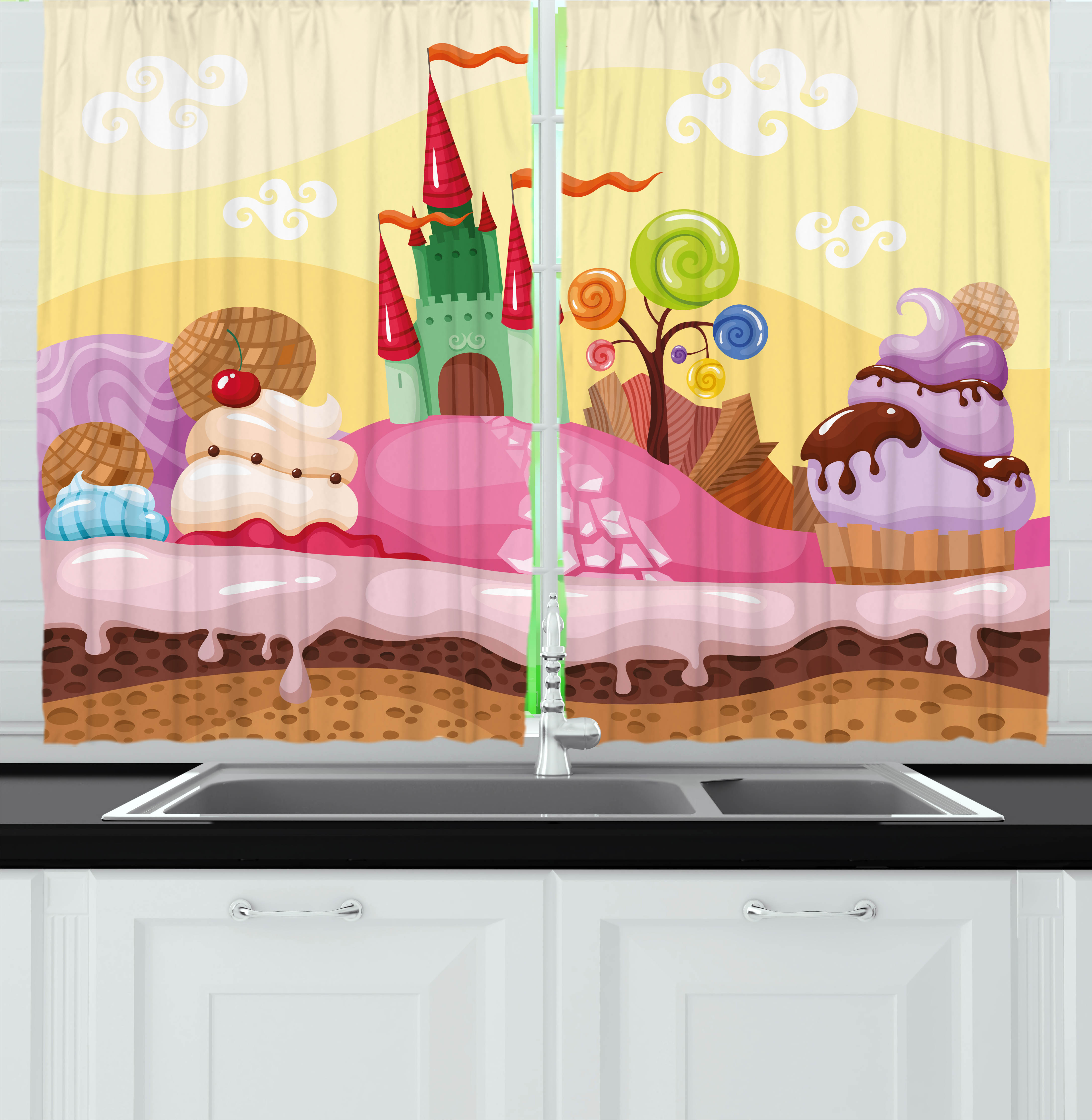 Cartoon Curtains 2 Panels Set, Kids Sweet Castle Landscape with Donuts Muffins Ice Cream Nursery Image, Window Drapes for Living Room Bedroom, 55W X 39L Inches, Sand Brown and Pink, by Ambesonne