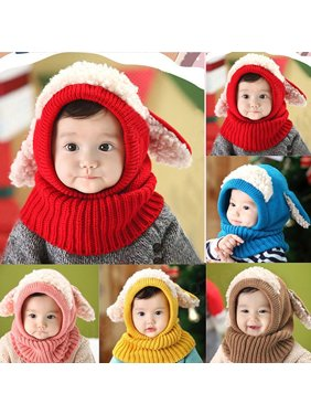 91c9bbbb016 Product Image HiCoup Baby Toddler Kids Winter Cute Beanie Warm Hat Hooded  Scarf Earflap Knitted Cap