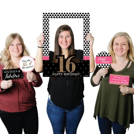 Chic 16th Birthday - Birthday Party Photo Booth Picture Frame & Props - Printed on Sturdy Plastic Material