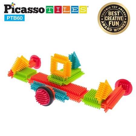 PicassoTiles PTB60 Bristle Shape Blocks 60-Piece Basic Building Set](Building Block Bags)