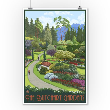 Brentwood Bay, Canada - Butchart Gardens - Lantern Press Artwork (9x12 Art Print, Wall Decor Travel (Best Month To Visit Butchart Gardens)