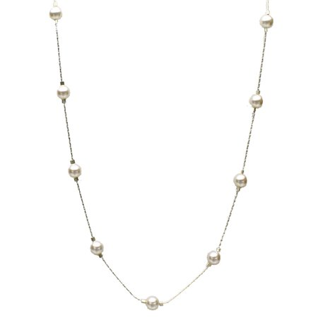 Sterling Silver Chain Station Illusion Necklace Made with Swarovski Crystal Simulated Pearls,
