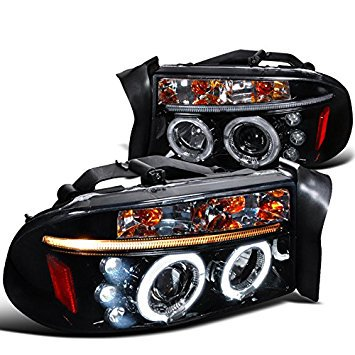 Dual LED Halo Projector Headlight In Gloss Black Housing Smoke Lens Made For And Compatible With 1997 - 2004 Dodge Dakota Durango 97 98 99 00 01 02 03 04 04 Dodge Dakota Led