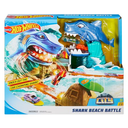Hot Wheels City Shark Beach Battle Challenge Playset