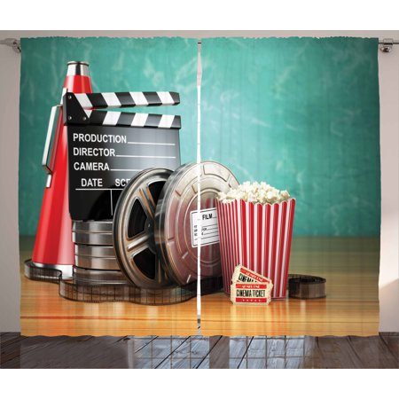 Movie Theater Curtains 2 Panels Set, Production Theme 3D Film Reels Clapperboard Tickets Popcorn and Megaphone, Window Drapes for Living Room Bedroom, 108W X 63L Inches, Multicolor, by - Movie Director Megaphone