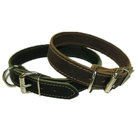 "1"" Handmade Solid Buffalo Leather Dog Collar with Stitched Edges - image 3 of 5"