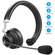 LUXMO Trucker Bluetooth Headset/Cell Phone Headset with Microphone, Wireless Headset Over the Head Earpiece Office Bluetooth Headphones for Cell Phone, Skype, Truck Driver, Call Center