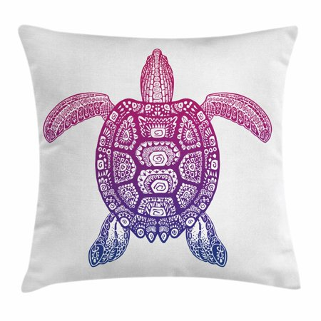 Turtle Throw Pillow Cushion Cover, Tribal Totem Animal Ethnic Motifs Vortex Circle and Triangle Shapes on the Shell, Decorative Square Accent Pillow Case, 18 X 18 Inches, Purple Magenta, by Ambesonne - Tribal Totem