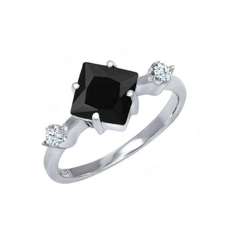 1.60 Ct Princess Cut Black Onyx 925 Sterling Silver Ring