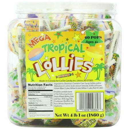 Smarties Lollipops (Mega Tropical Lollies, 4 Lb, 60)