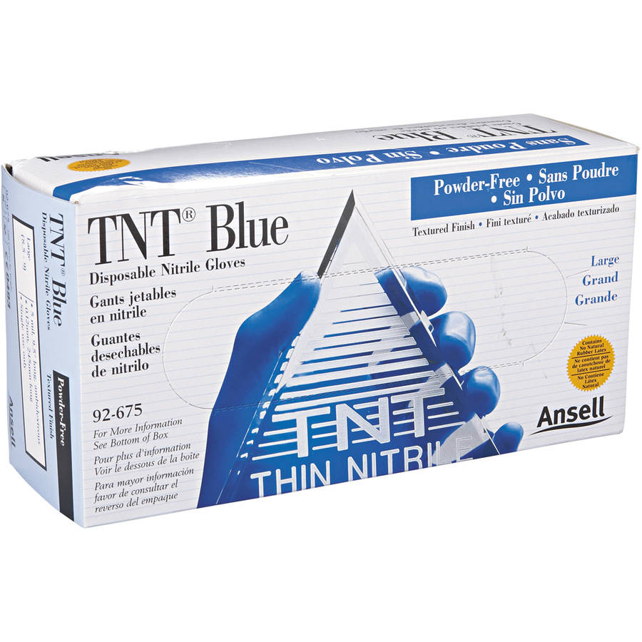 AnsellPro TNT Non-powdered Disposable Nitrile Gloves, Large, Blue, 100 count