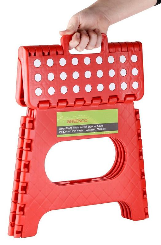 11 Red Greenco Super Strong Foldable Step Stool for Adults and Kids