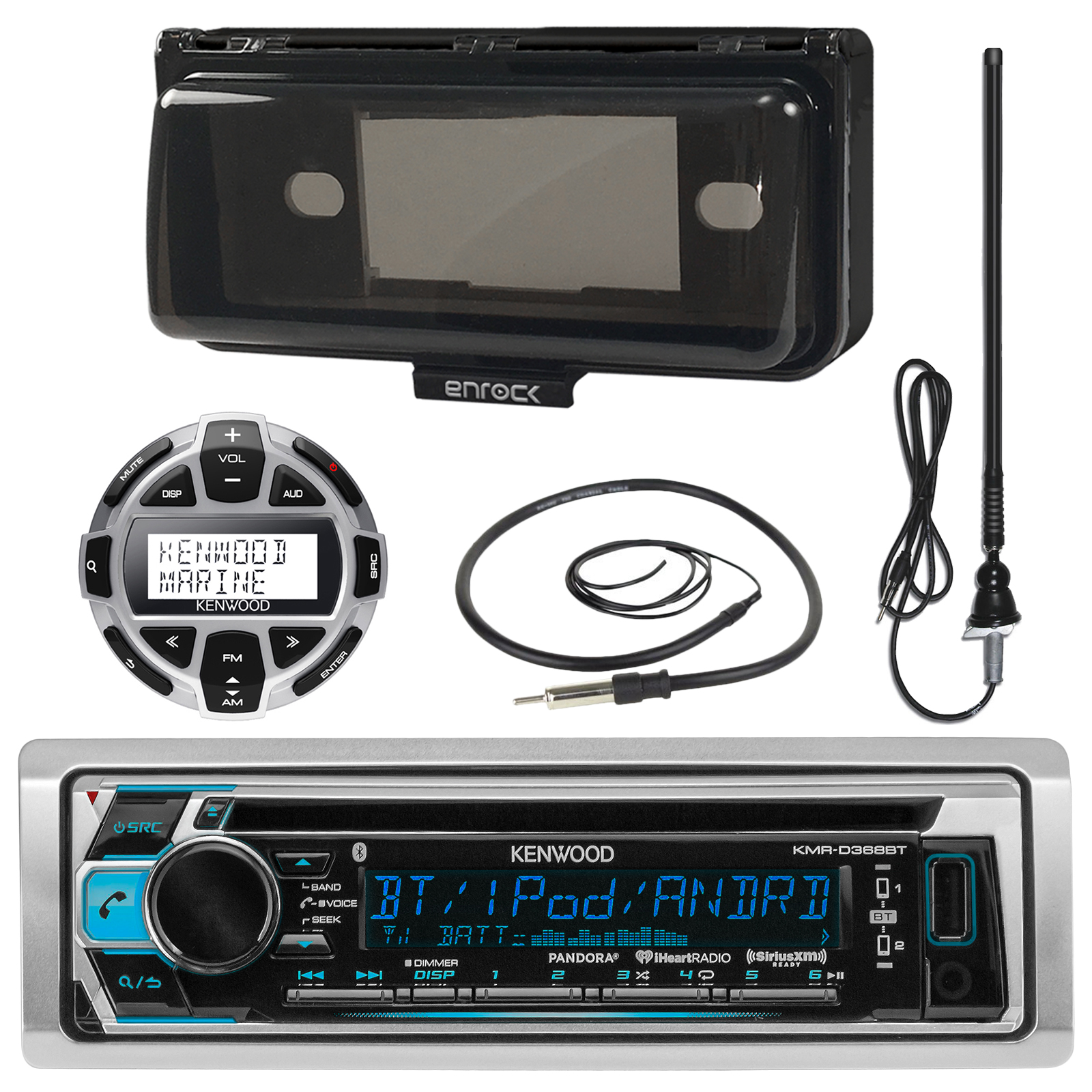 Kenwood KMRD372BT MP3/USB/AUX Marine Boat Stereo Receiver...