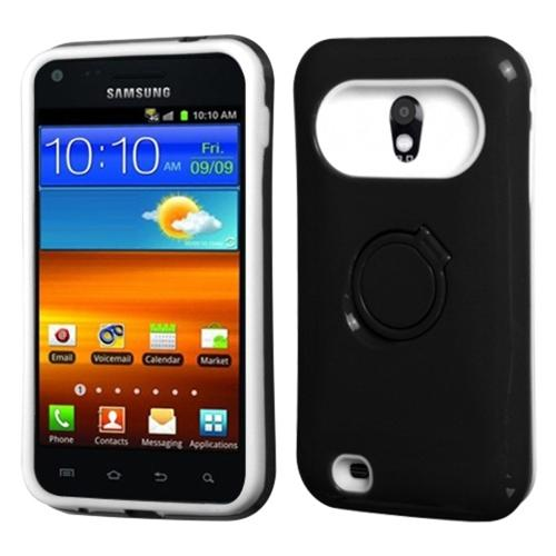 Insten Black White Back Case w/Ring Stand For SAMSUNG D710 Epic 4G Touch Galaxy S2 4G