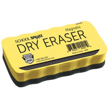 School Smart Magnetic Whiteboard Eraser, 2 x 4 Inches, Yellow Handle, Black Foam - Dry Erasers