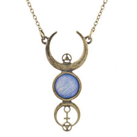 Lux Accessories Burnished Faux White Opal Moon Phase Wiccan Pendant (Faux Turquoise Pendant Necklace)