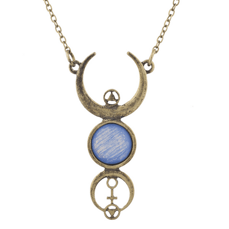 Lux Accessories Burnished Faux White Opal Moon Phase Wiccan Pendant Necklace