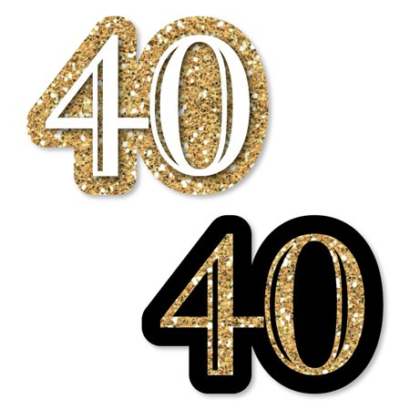 Adult 40th Birthday - Gold - DIY Shaped Birthday Party Cut-Outs - 24 Count - 40th Birthday Party Ideas For Wife
