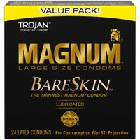 TROJAN MAGNUM BARESKIN Large Size Condoms, 24 Count