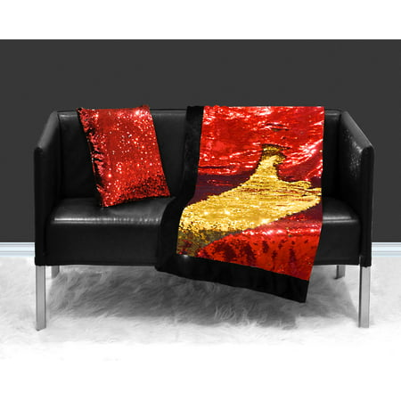 "Reversible Sequin Sparkle Red to Gold Throw Blanket, 50"" x 60"""