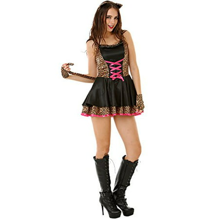 Boo! Inc. Flirty Feline Women's Halloween Costume Sexy Kitty Cat Kitten Dress Outfit (Pimp Halloween Outfits)