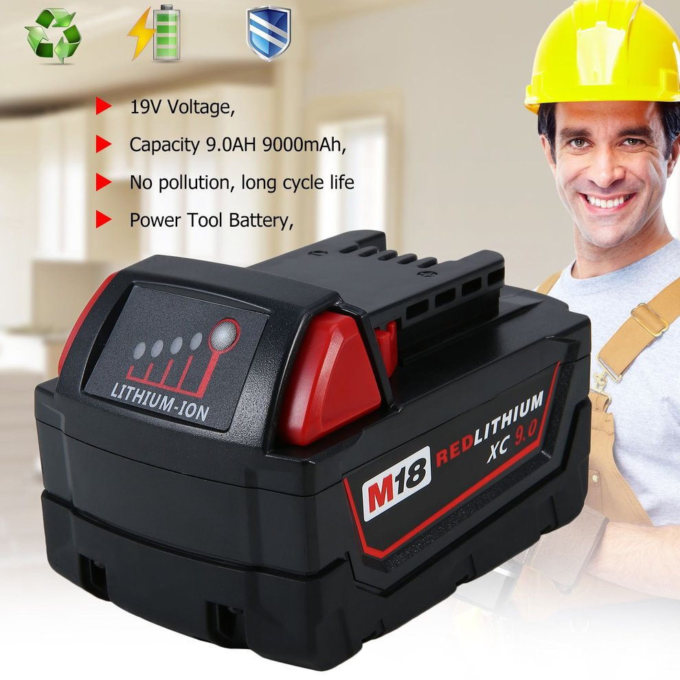 Power Tools Battery, 18V 9.0Ah Li-Ion Battery Replacement Power Tool Battery For Milwaukee M18