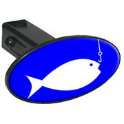 "Fish And Fishing Hook 1.25"" Oval Tow Trailer Hitch Cover Plug Insert"