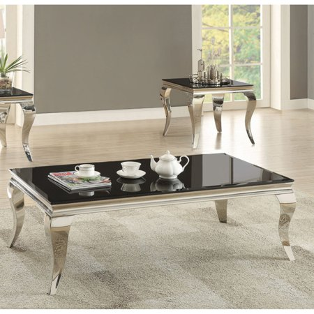 Coaster Furniture Black Glass Top Coffee Table With Chrome Base - Chrome base glass top coffee table