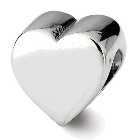 Lex & Lu Sterling Silver Reflections Heart Shape Bead