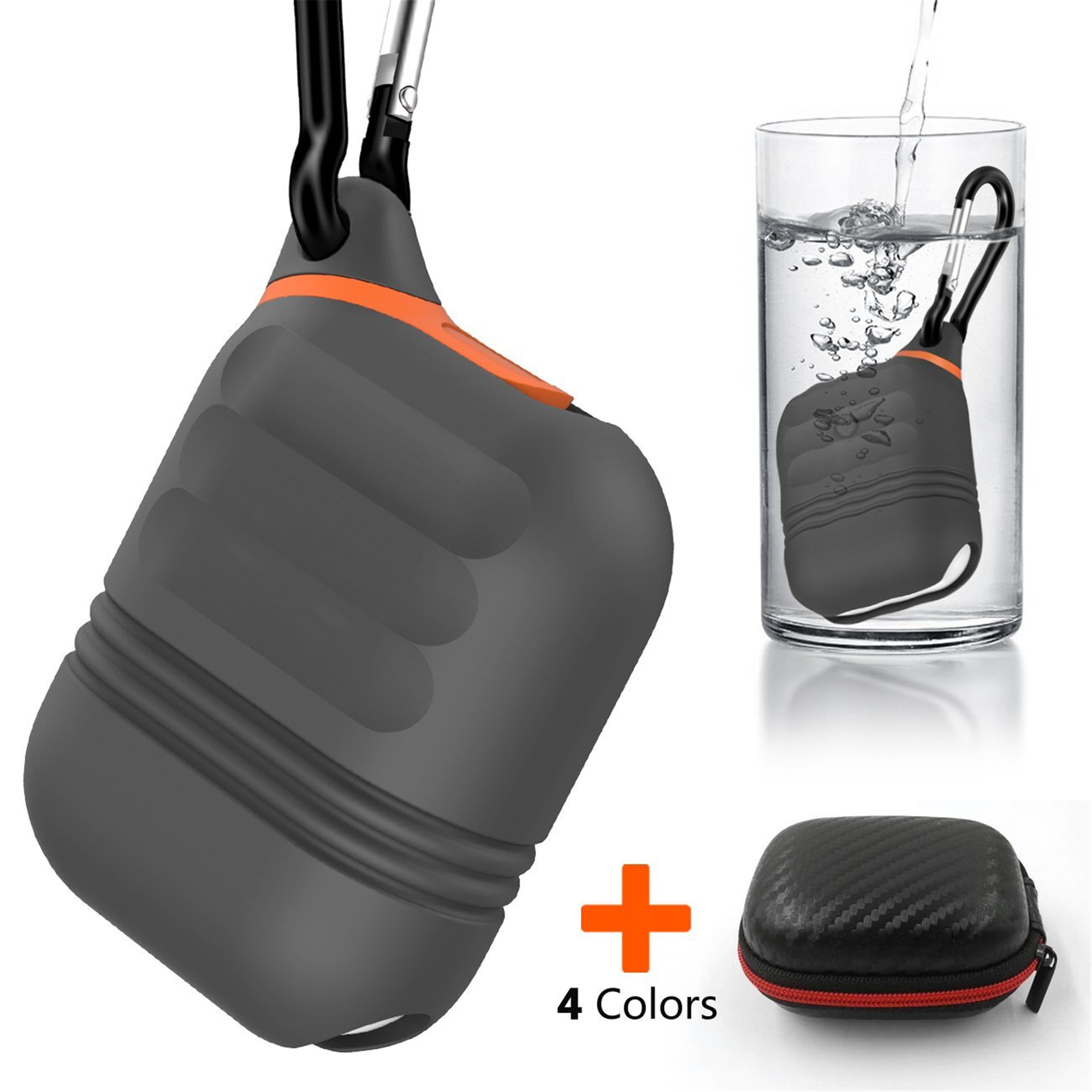 3 in 1 Protect Kit for Airpods, Silicone Waterproof Shock Resistant AirPods Case Cover,Premium Zipper Hard Case with Detachable Carabiner.(Black)