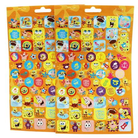 Spongebob Sticker Sheet (Spongebob Squarepants Orange Background Assorted Sticker Sheets (2pc))