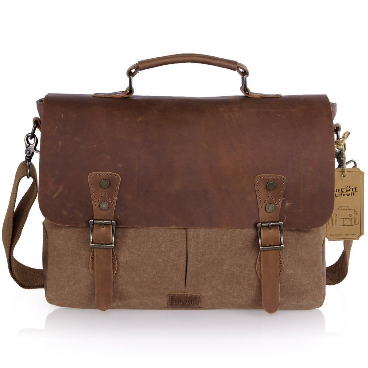 Lifewit 15.6 inch Leather Laptop Messenger Satchel Bag Canvas Briefcase, Coffee