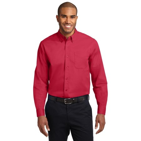Port Authority® Tall Long Sleeve Easy Care Shirt.  Tls608 Red/ Light Stone 4Xlt - image 1 of 1
