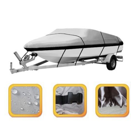 17 19 Ft Trailerable Boat Cover Waterproof V Hull 95  Beam Heavy Duty  Gray