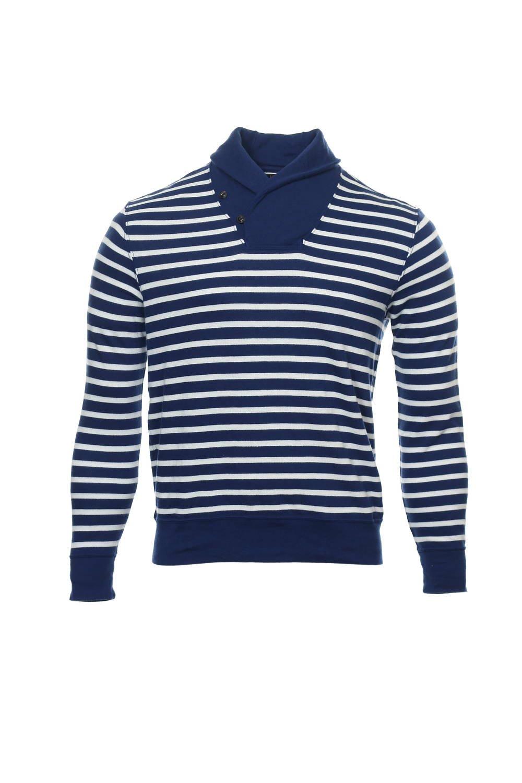 POLO by Ralph Lauren Men\u0027s Blue Wide Striped Shawl Neck Sweater -  Walmart.com