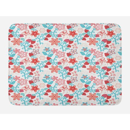 Floral Bath Mat, Cute Flowers Ladybugs Butterflies Strawberries Kids Nursery Playroom Pattern, Non-Slip Plush Mat Bathroom Kitchen Laundry Room Decor, 29.5 X 17.5 Inches, Dark Coral Aqua, Ambesonne