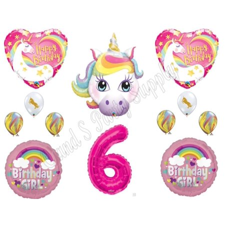 6th RAINBOW UNICORN Happy Birthday Party Balloons Decoration Pink Purple Girl