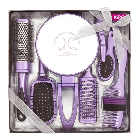Hair Brush Styling Set with Magnifying Mirror, 16 pieces ($22