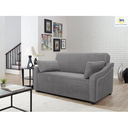 Serta® Harison Queen Sofa Bed with Matching Pillow and Power Strip, (Serta Naples Futon)