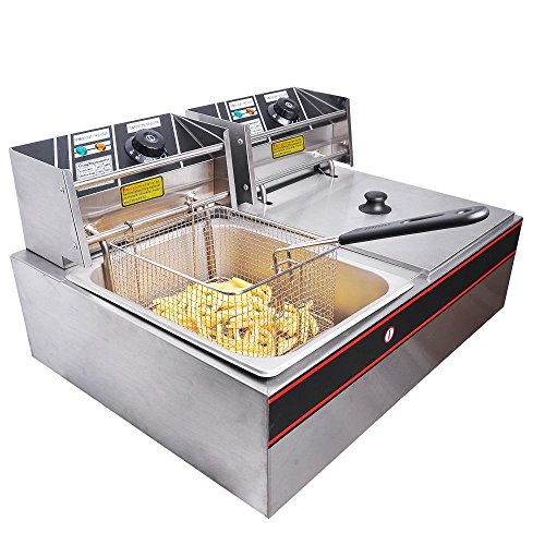 Commercial 12L 5000W Stainless Steel Electric Countertop Deep Fryer Dual Tank Basket